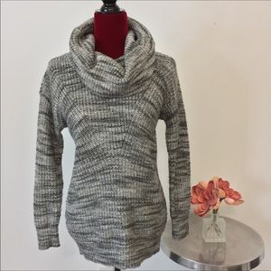 LOFT Knitted Marled Grey Cowl Sweater Tunic XS